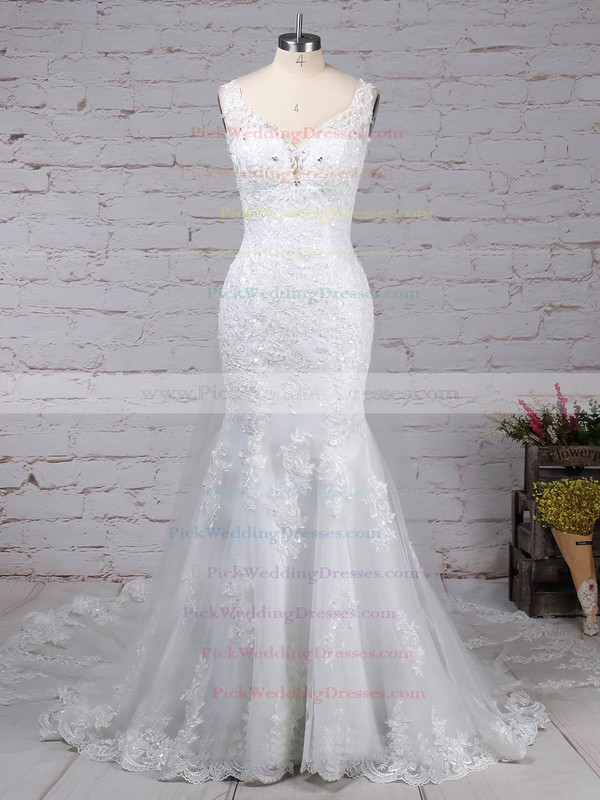 Tulle V-neck Detachable Trumpet/Mermaid Beading Wedding Dresses #PWD00023148