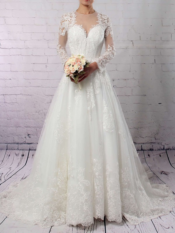 Tulle Scoop Neck Sweep Train Ball Gown Appliques Lace Wedding Dresses #PWD00023286