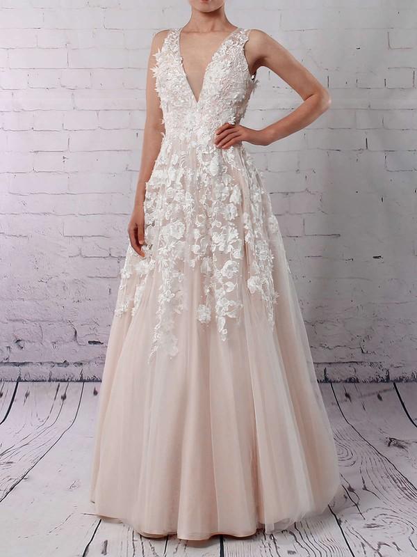 Tulle V-neck Floor-length Princess Appliques Lace Wedding Dresses #PWD00023122