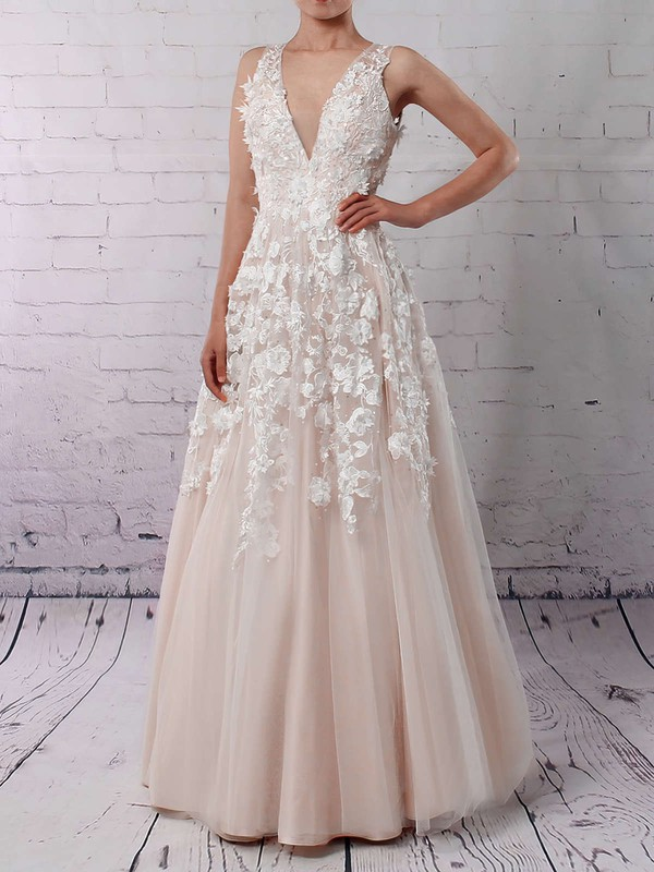 Tulle V-neck Floor-length Princess Appliques Lace Wedding Dresses #PWD00023122