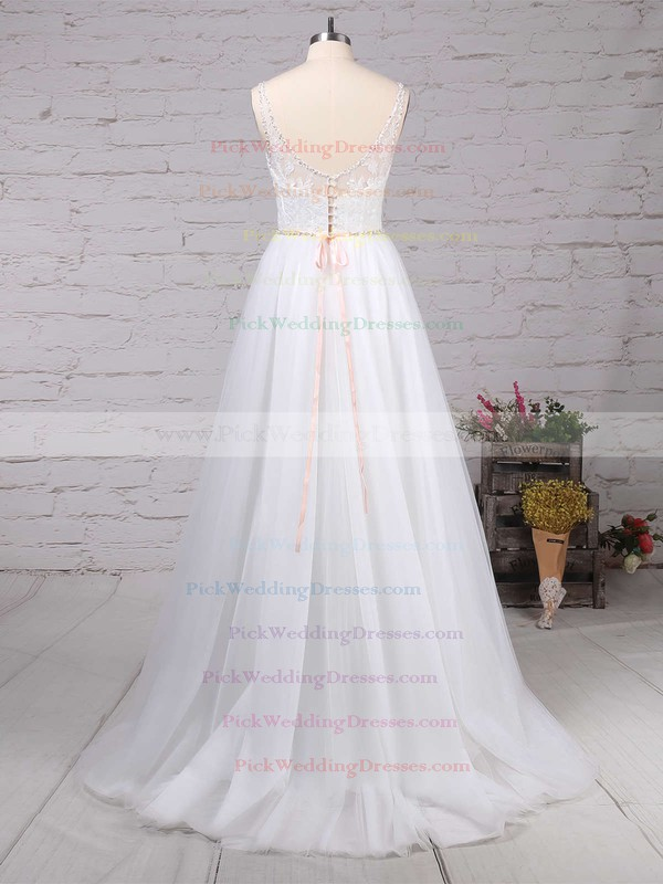Tulle V-neck Sweep Train A-line Beading Wedding Dresses #PWD00023124
