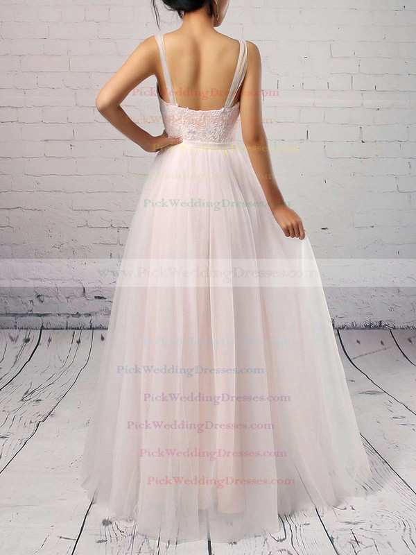 Tulle Scoop Neck Sweep Train A-line Appliques Lace Wedding Dresses #PWD00023126