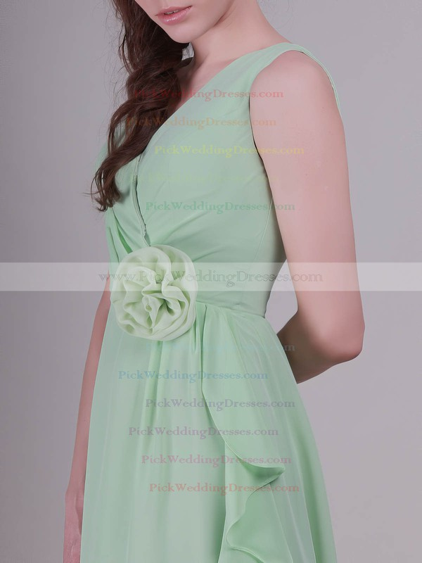 A-line Knee-length Chiffon Flower(s) V-neck Bridesmaid Dresses #PWD02042137