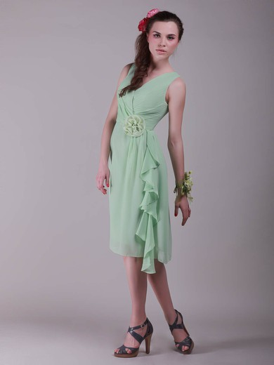A-line Knee-length Chiffon Flower(s) V-neck Bridesmaid Dresses #PWD02042137