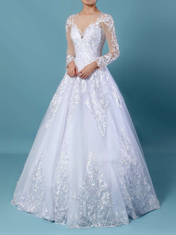 Organza Tulle Scoop Neck Sweep Train Ball Gown Appliques Lace Wedding Dresses #PWD00023141