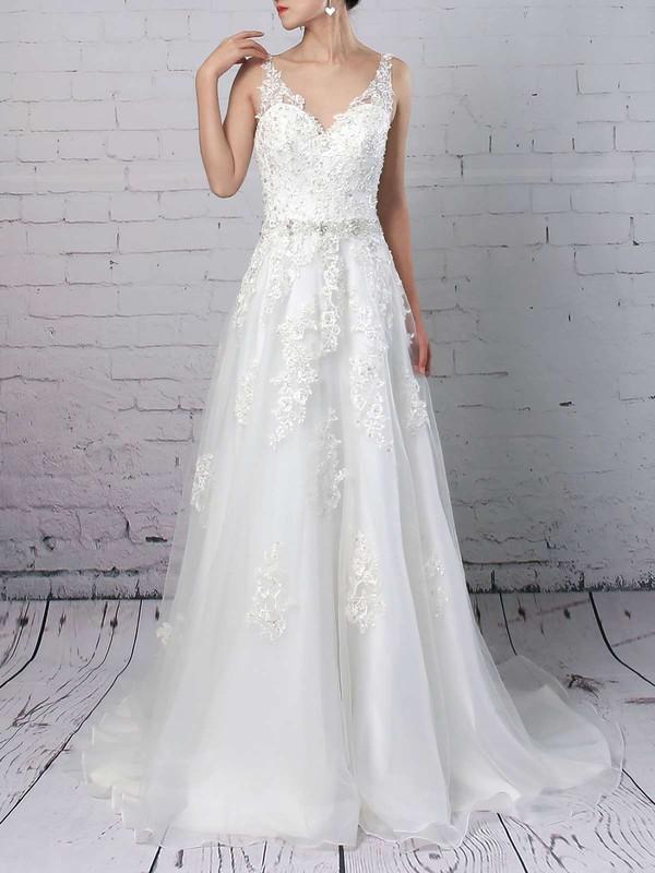 Organza V-neck Court Train Princess Beading Wedding Dresses #PWD00023147