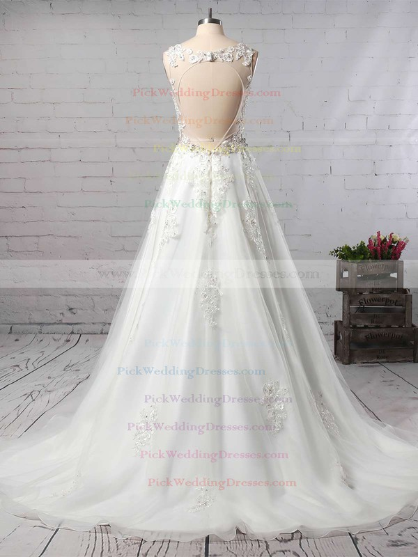 Organza V-neck Court Train Princess Beading Wedding Dresses #PWD00023147