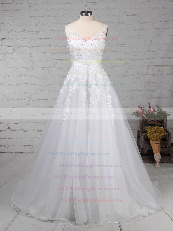 Tulle V-neck Sweep Train A-line Beading Wedding Dresses #PWD00023164