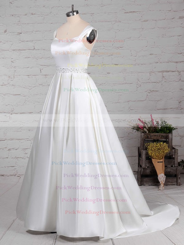 Satin Square Neckline Sweep Train Ball Gown Beading Wedding Dresses #PWD00023171
