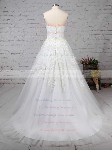 Tulle Strapless Sweep Train Ball Gown Appliques Lace Wedding Dresses #PWD00023175