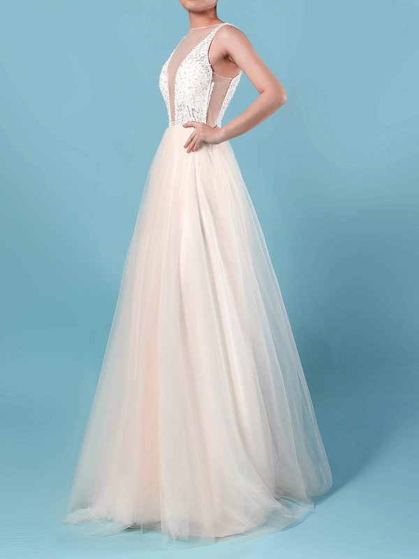 Tulle Scoop Neck Sweep Train Princess Lace Wedding Dresses #PWD00023182