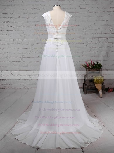 Lace Chiffon Scoop Neck Sweep Train A-line Beading Wedding Dresses #PWD00023197