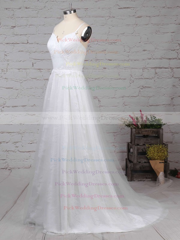 Tulle Lace V-neck Sweep Train A-line Appliques Lace Wedding Dresses #PWD00023211