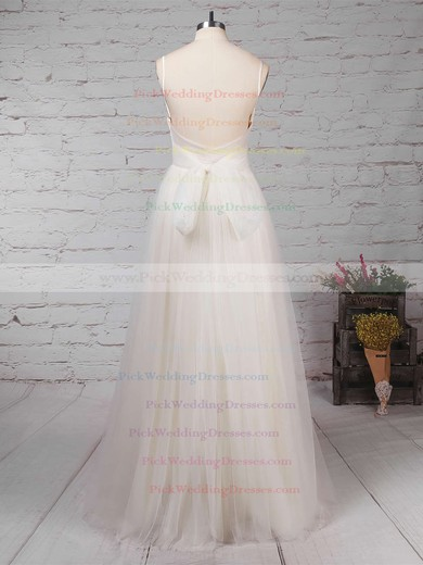 Tulle V-neck Floor-length A-line Ruffles Wedding Dresses #PWD00023214