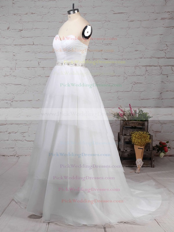 Tulle Sweetheart Sweep Train Ball Gown Beading Wedding Dresses #PWD00023216