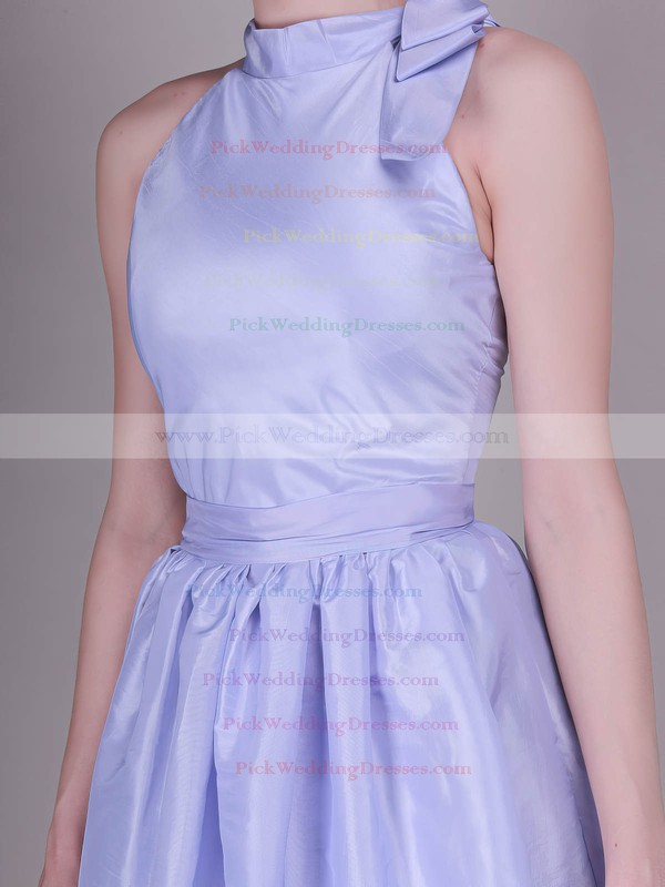 A-line Knee-length Taffeta Bow High Neck Bridesmaid Dresses #PWD02042138