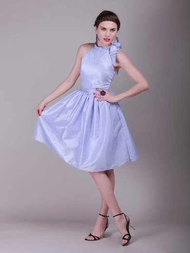 A-line Knee-length Taffeta Bow High Neck Bridesmaid Dresses #PWD02042138