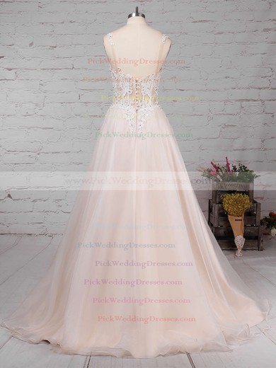 Tulle V-neck Sweep Train Ball Gown Appliques Lace Wedding Dresses #PWD00023220