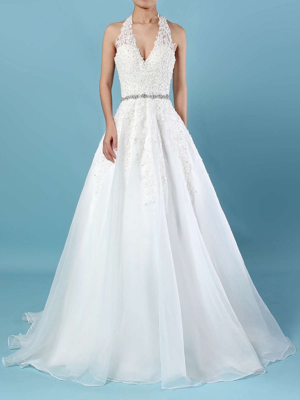 Tulle Halter Sweep Train Ball Gown Beading Wedding Dresses #PWD00023223