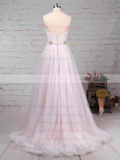 Tulle Sequined Sweetheart Sweep Train Princess Beading Wedding Dresses #PWD00023234