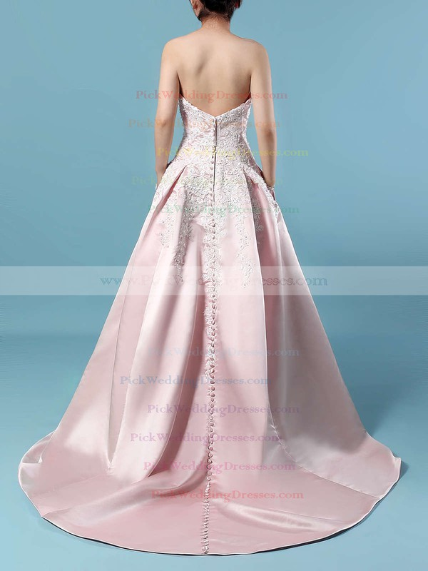 Satin Strapless Sweep Train Ball Gown Appliques Lace Wedding Dresses #PWD00023235