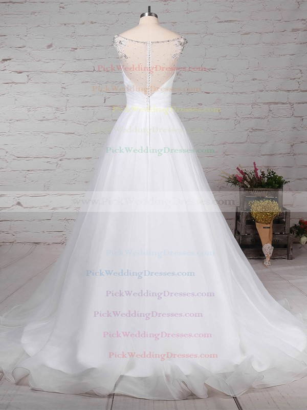 Organza Tulle V-neck Sweep Train Ball Gown Beading Wedding Dresses #PWD00023237