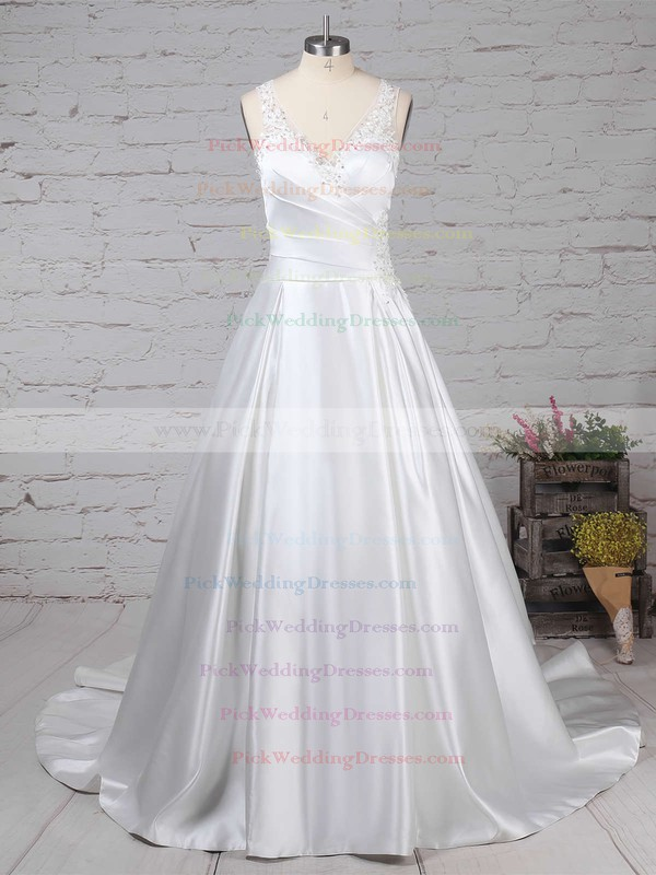 Satin Tulle V-neck Sweep Train Ball Gown Beading Wedding Dresses #PWD00023239