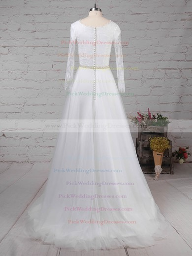 Lace Tulle Scoop Neck Sweep Train Princess Beading Wedding Dresses #PWD00023246