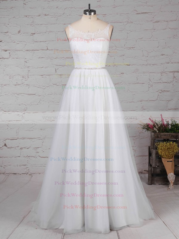 Lace Tulle Scoop Neck Sweep Train Princess Beading Wedding Dresses #PWD00023247