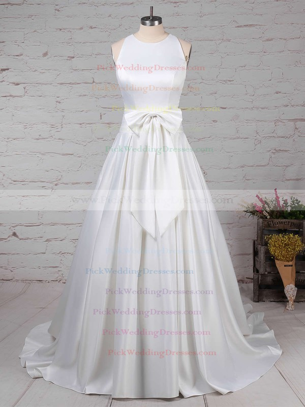 Satin Scoop Neck Sweep Train Ball Gown Bow Wedding Dresses #PWD00023255