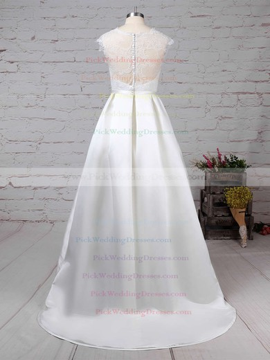 Lace Satin Scoop Neck Sweep Train Ball Gown Pockets Wedding Dresses #PWD00023263