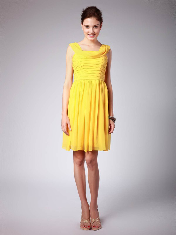 Sheath/Column Knee-length Chiffon Pleats Scoop Bridesmaid Dresses #PWD02042139