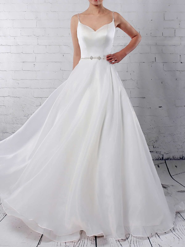 Organza V-neck Sweep Train Ball Gown Beading Wedding Dresses #PWD00023277