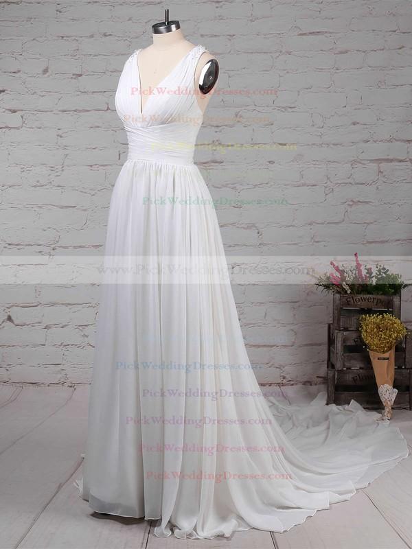 Chiffon V-neck Sweep Train A-line Beading Wedding Dresses #PWD00023289