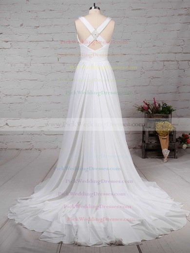 Chiffon V-neck Sweep Train A-line Beading Wedding Dresses #PWD00023289