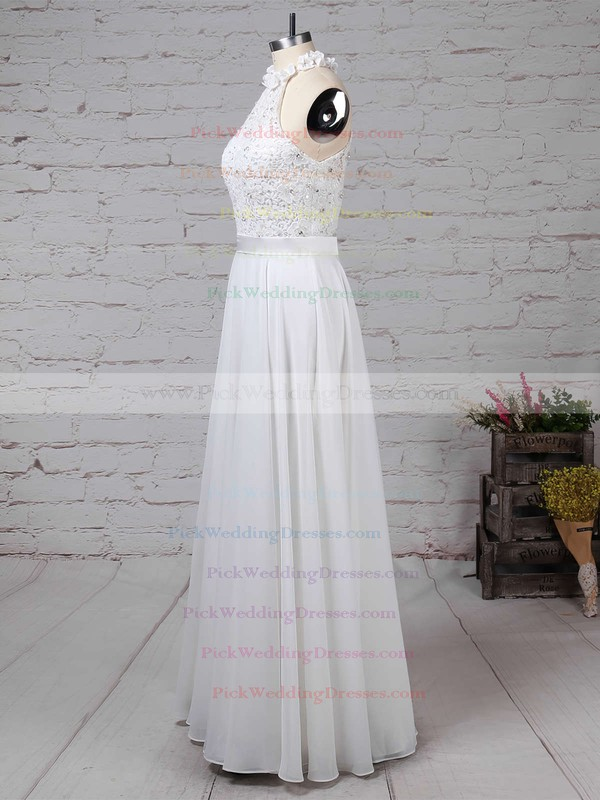 Lace Chiffon High Neck Floor-length A-line Beading Wedding Dresses #PWD00023296