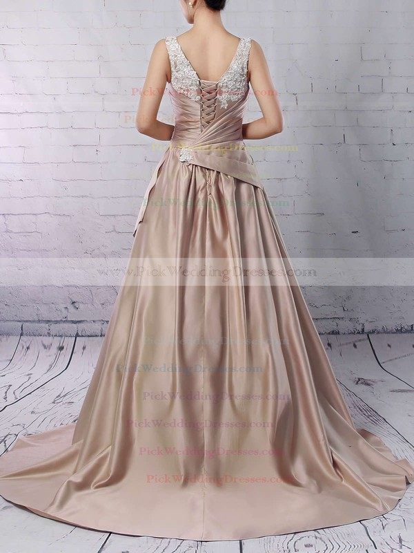 Satin V-neck Sweep Train Ball Gown Appliques Lace Wedding Dresses #PWD00023307