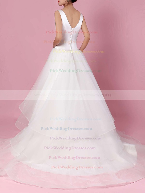 Satin Tulle V-neck Sweep Train Ball Gown Tiered Wedding Dresses #PWD00023312