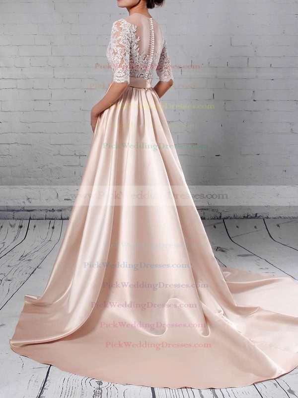 Satin Tulle Scoop Neck Sweep Train Ball Gown Appliques Lace Wedding Dresses #PWD00023314
