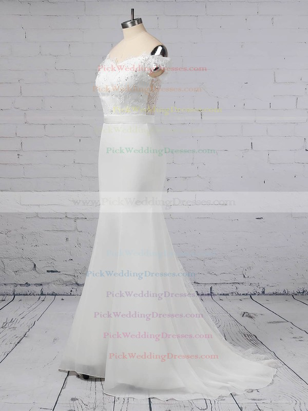 Lace Chiffon Off-the-shoulder Sweep Train Trumpet/Mermaid Sashes / Ribbons Wedding Dresses #PWD00023358
