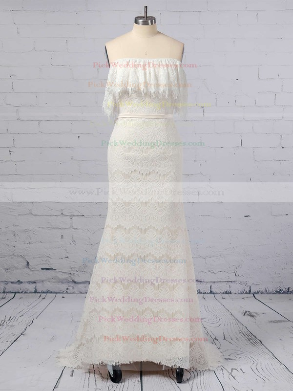 Lace Off-the-shoulder Sweep Train Trumpet/Mermaid Sashes / Ribbons Wedding Dresses #PWD00023361