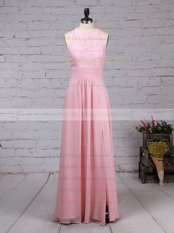 A-line Scoop Neck Lace Chiffon Floor-length Ruffles Bridesmaid Dresses #PWD01013465