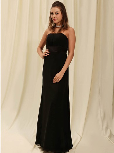 Sheath/Column Floor-length Chiffon Draping Strapless Bridesmaid Dresses #PWD02042141
