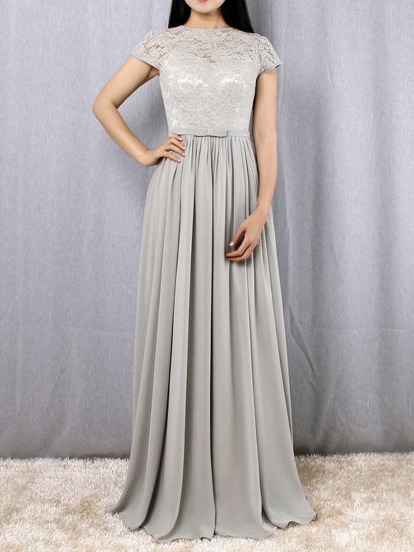A-line Scoop Neck Lace Chiffon Floor-length Sashes / Ribbons Bridesmaid Dresses #PWD01013469