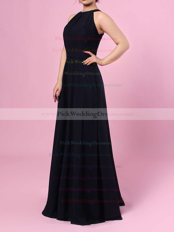 A-line Scoop Neck Chiffon Floor-length Sashes / Ribbons Bridesmaid Dresses #PWD01013472