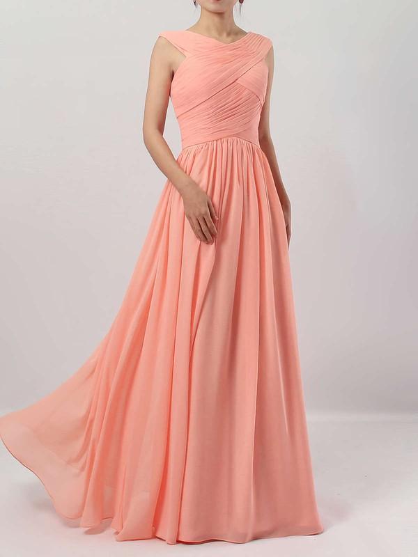 A-line V-neck Chiffon Floor-length Ruffles Bridesmaid Dresses #PWD01013494