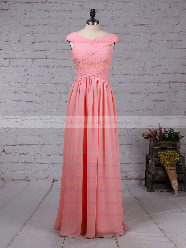 A-line V-neck Chiffon Floor-length Ruffles Bridesmaid Dresses #PWD01013494