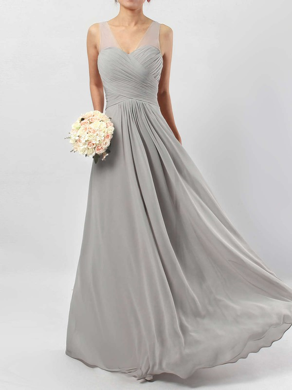A-line V-neck Chiffon Floor-length Ruffles Bridesmaid Dresses #PWD01013533