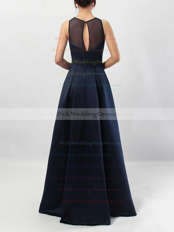 A-line Scoop Neck Satin Floor-length Pockets Bridesmaid Dresses #PWD01013558