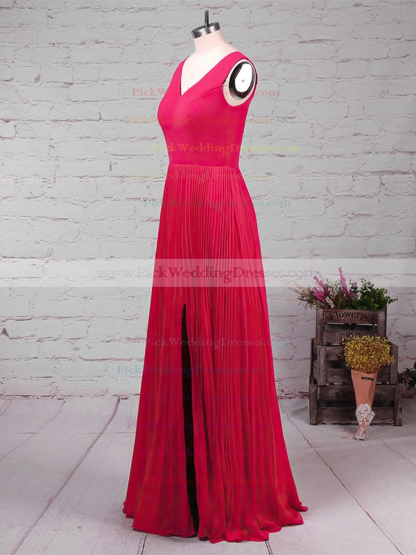 A-line V-neck Chiffon Floor-length Split Front Bridesmaid Dresses #PWD01013579